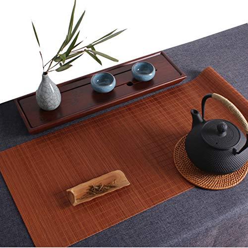 Camino De Mesa De Bambú Natural Japonés, Manteles Individuales/Mantel De Aislamiento Antideslizante, Estera De Mesa De Centro De Cocina para El Hogar, Color Té Negro(Size:50×100cm)