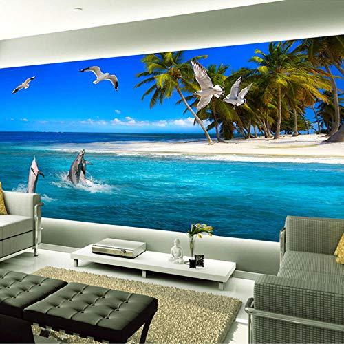 Wandbild, Tapete, Hd Meer Aussicht, große Wandbilder Strand, Kokosnussbäume, Delfin, Möwe, Foto-Wandtapete für Wohnzimmer, TV-Hintergrund, 275 x 255 cm