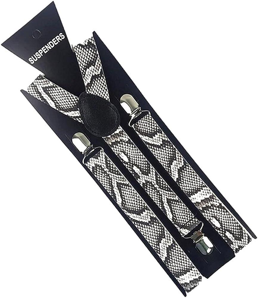 2.5Cm Wide Zebra Print Snake Braces Elastic Trouser Suspenders 3 Clip Adjustable Shirts Men