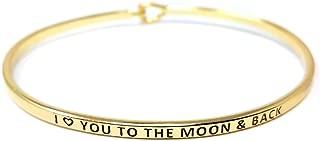 Inspirational Positive Message Engraved Thin Cuff Bangle Hook Bracelet