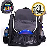 Athletico Power Shot Disc Golf Backpack - 20+ Disc Capacity - Pro or Beginner Disc Golf Bag - Unisex Design (Black)