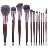 Fundación Red 11pcs del maquillaje del cepillo del sistema de Madera Pincel de llama sombra de ojos de polvo cosmético de fusión Kabuki compone el kit herramienta Pincel aycpg