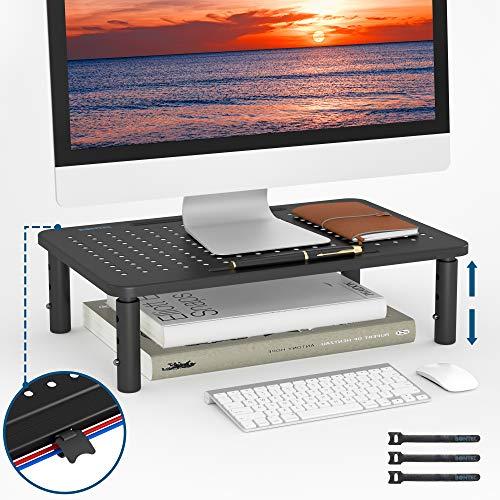 BONTEC Supporto per Monitor in Ergonomico Altezza del Monitor Regolabile, Premium Metallo Supporto per Monitor da Scrivania per Computer Portatile, Computer, iMac, PC, Stampante Fino a 20kg