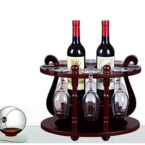 HOMERACK Wijnrek van hout, ronde vorm basis wijnflessenhouder wijnglas-frame voor 2 flessen en 6 wijnglazen, eenvoudig op te zetten CHIHEN