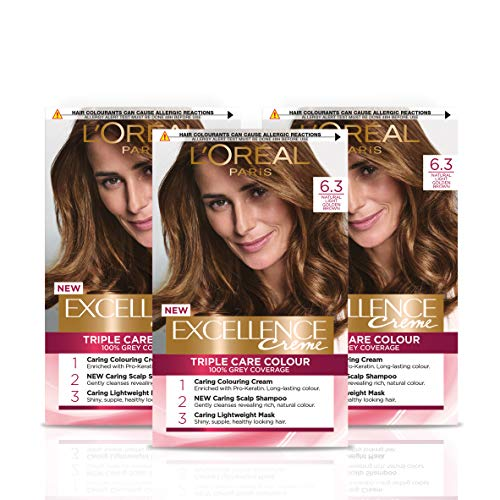 L Oréal Paris Excellence Crème Permanent Hair Dye, Radiant At-Home Hair Colour with up to 100% Grey Coverage, Pro-Keratin, Up to 8 Weeks of Colour, Pack of 3, Colour: 6.3 Natural Light Golden Blonde