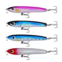 kmucutie 4 pcs Deep sea Wooden Stickbaits Fishing Lure Trolling Floating Bait 8.5 inch 105g