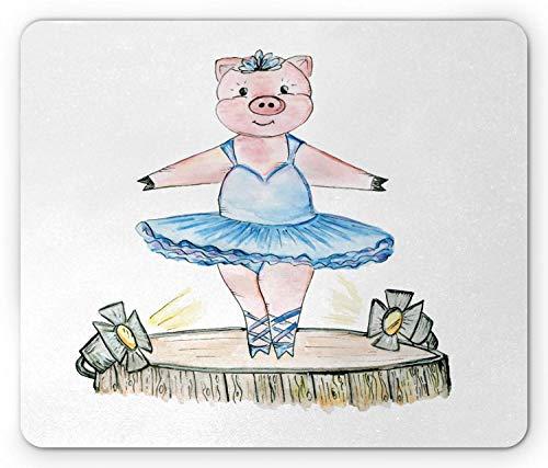 Bailarina Mouse Pad, Ilustración de Cerdo con Atuendo de Ballet en el Escenario Doodle Lápiz Dibujo de Postura, Tamaño estándar, Rectángulo, Alfombrilla de Goma Antideslizante, Estera de go