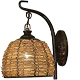 Zhangl Lámpara de América rústico antiguo aplique retro hecho a mano de bambú ratán pared E27, titular del hierro de la vendimia rústica pared Light Hotel Restaurante Granja de Pasillo Comedor Bar Caf