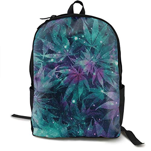 zhengchunleiX Travel Daypacks,Sports Book Bags,Casual Rucksack,Ganja Galaxy Unique Backpack Durable Oxford Outdoor College Students Busines Laptop Computer Shoulder Bags