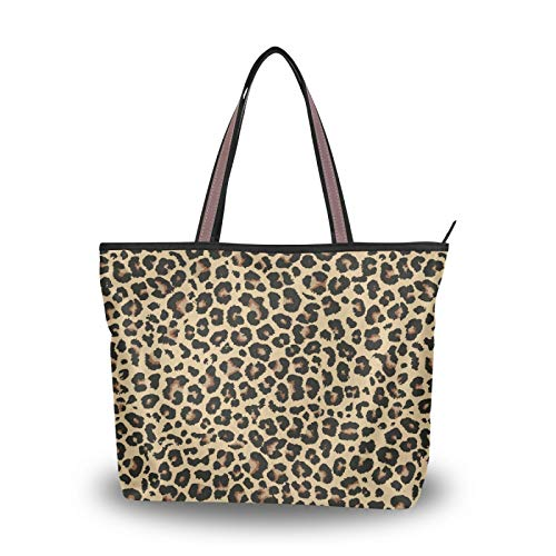 Women Tote Top Handle Shoulder Handbag Leopard Print Printed Zippered Bags for Ladies
