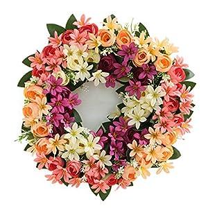 æ— Rose Wreath Door Wreath 17 Inch Fake Silk Roses Summer Wreath Roses Artificial Flower Farmhouse Wreath for Front Door, Home, Window, Wall, Wedding Decoration