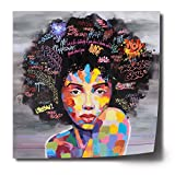 FREE CLOUD Crescent Art Abstract Pop Black Art African American Wall Art Afro Woman Painting on Canvas Print Wall Picture for Living Room Bedroom Wall Decor (B Unframed, 28 x 28 inch)