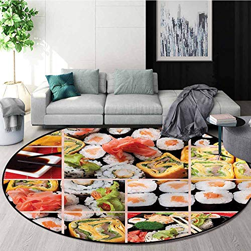 Why Should You Buy RUGSMAT Japanese Round Area Rug Ultra Comfy Thick,Sushi Roll Colored Bedroom Home...