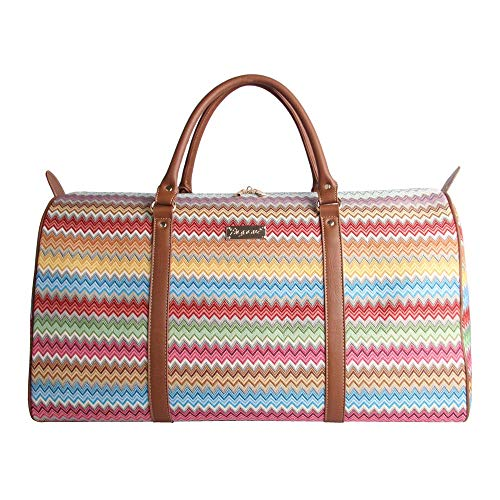 Signare Gobelin-Gepäcktasche für Reisen und Sport/große Reisetasche für Damen Sporttasche Damen mit Farbmuster Designs (aztekisch)