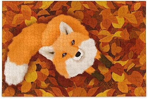 Cute Fox Animal Pintura de acuarela Estética Hojas caídas Estilo de otoño Rompecabezas de madera Juego educativo Juguetes de bricolaje Rompecabezas de madera Rompecabezas de 500 piezas Desafío y dive