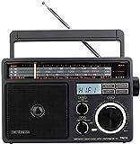 Retekess TR618 Radio Portátil FM Am SW, Radio Analógica Onda Corta para Personas Mayores,Soporte para Disco USB,Tarjeta TF/SD,con Conector para Auriculares,Alimentación de AC o Batería(Gris Oscuro)