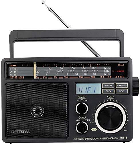 Retekess TR618 Radio Portatile FM AM SW, Radio Analogica a Onde Corte per Anziani, Supporto Disco USB, Scheda TF SD, con Jack per Cuffie, Alimentazione AC o Batteria (Grigio Scuro)