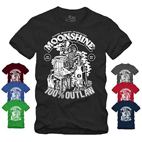 Moonshine 100% Outlaw - T-Shirt Rockabilly Redneck Whisky Schnaps Brennen (XXL, Schwarz)