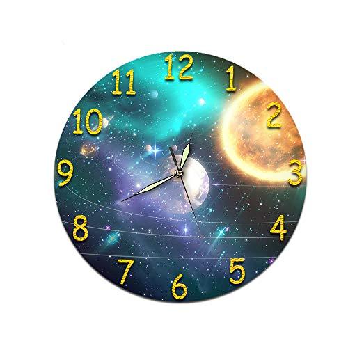 LUOYLYM Sternenmuster Wohnzimmer Digitale Wanduhr Acryl Stumm Startseite Kreative Mode Uhr Randlose Wecker P190430-132 (Luminous Pointer) 28cm