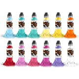 World Famous Pastel Color Tattoo Ink Set of 12, Vegan Professional Tattooing Inks, 1oz
