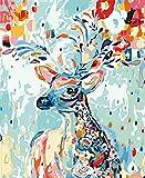 Diy Pintura Al Óleo, Ciervo De Color Diy Pintura Digital Cuadro De Lienzo Con Numeros Pre Dibujado Fácil De Pintar Cuadros De Pintura Con Numeros Dibujados Para Adultos Y Niños 40X50Cm