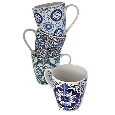 Set 4 Large 12oz Vintage-Tile Arabesque Talavera Porcelain Tea Coffee Latte Mugs