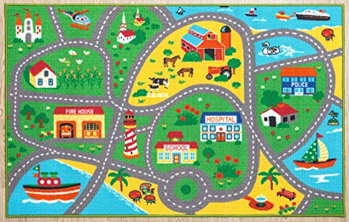 """Furnish my Place City Street Map Children Learning Carpet/Kids Rugs Boy Girl Nursery/Bedroom/Playroom/Classrooms Play Mat, Rectangle, 3'3"""" L"""