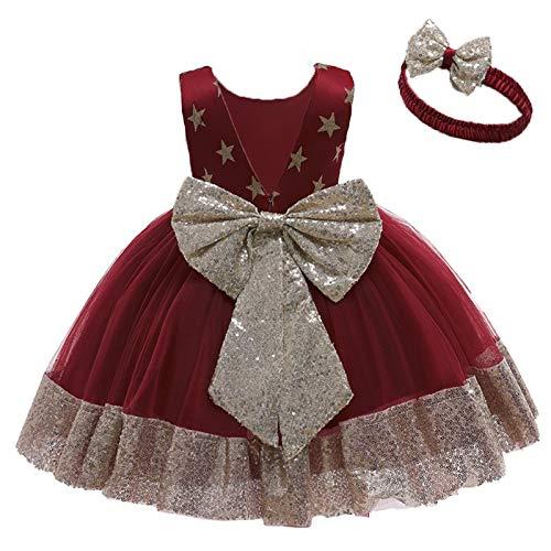 JoJody - Vestido para niña de 1 a 6 años, 2 piezas de lentejuelas para bebé y niña, vestido de encaje para fiesta de boda, tutú o diadema. Du Vin 2-3 Años