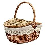 WeiCYN Picknick-Korb Hand Made Wicker Taschen Camping Einkauf Lagerung Hamper mit Deckel Picknicknahrungsmittelkorb Woven Frucht-Speicher-Korb (Color : Wood)