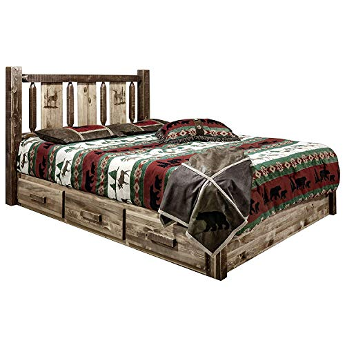 Why Choose Montana Woodworks Homestead Collection Platform Bed w/Storage, Queen w/Laser Engraved Elk...