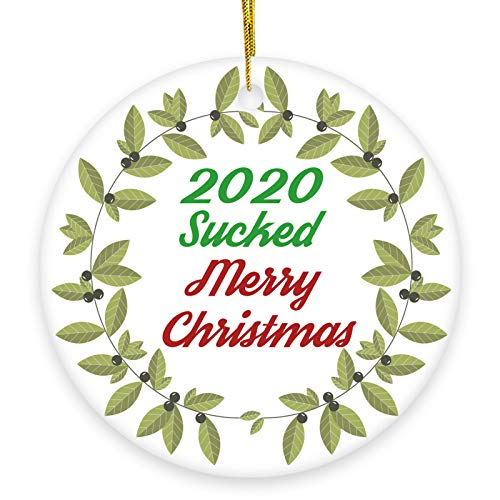 2020 Christmas Tree Ceramic Ornaments/Memory Handmade Ornament/Merry Christmas 2020 Sucked with Green Grass Wreath/ 3' Flat Porcelain Ornaments with Gift Box/White Christmas Ornaments