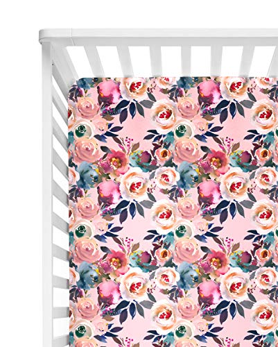 """Posh Peanut Fitted Crib Sheet, Soft Viscose from Bamboo Fabric, Standard Crib and Toddler Mattresses 52"""" by 28"""" (Dusk Rose)"""