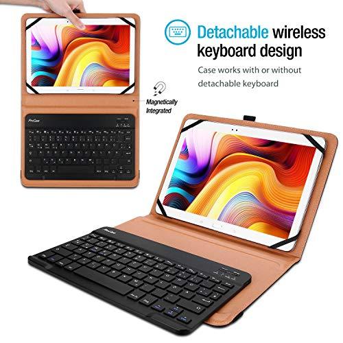 ProCase Universal US- Englisch Tastatur Hülle für 9/9.7/10 / 10.1/10.5 Zoll Tablet, Ultradünn Klapp Schutzhülle mit Magnet Abnehmbar Kabellos Tastatur –Schwarz