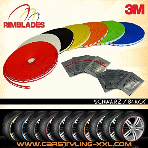 Rimblades mit 3M Kleber - Farbe: schwarz - Premium Felgenschutz und Styling für Alufelgen bis 22'' ~ schneller Versand innerhalb 24 Stunden ~
