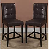 Poundex 2 Piece 1Perfect Choice Dining High Counter Height Side Chair Bar Stool, Faux Leather, Expresso