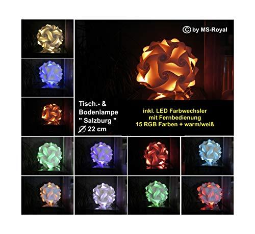 """Bodenlampe Tischlampe Kugellampe """" Salzburg """" Größe 22 cm, inkl. 15 RGB Farben LED Farbwechsler + warm/weiß, im Retro Stil der 70er/80er Jahre"""