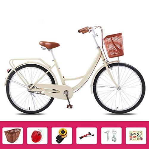 Bove Vintage Fahrrad Single-Speed Citybike Damen Leicht Und Stabil Stoßdämpfer Citybike Scheibenbremsen Dame Fahrrad-E-24inch
