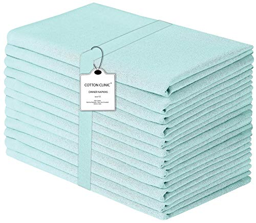 Cloth Napkin in Solid Cotton Fabric- Aqua Blue Color, Oversized 20x20, Wedding Napkins,Cocktails Napkins,Tailored with Mitered Corners & Generous Hem, Machine Washable Dinner Napkins Set of 12