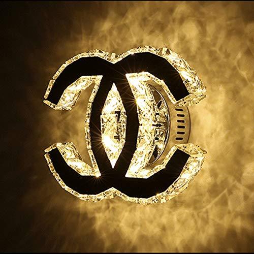 LED Wandleuchte K9 Kristall Leuchte Kreatives Klar Luxus Wandlampe Modern Eisen Lampe Edelstahl Spiegel Elegante Wandbeleuchtung 12W Wohnzimmer Schlafzimmer Korridor Hotel Treppen Innen Beleuchtung,B