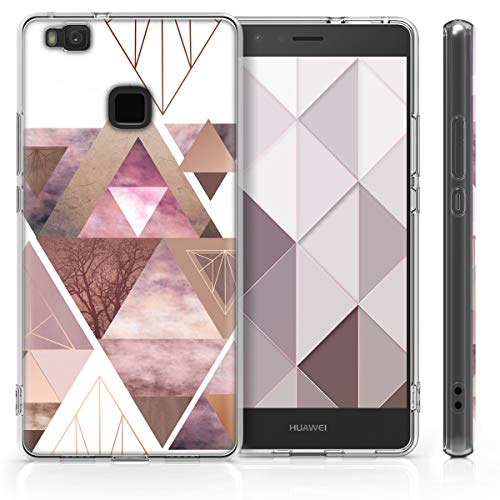 kwmobile Huawei P9 Lite Hülle - Handyhülle für Huawei P9 Lite - Handy Case in Glory Dreieck Muster Design Rosa Rosegold Weiß - 4