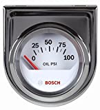 Actron SP0F000041 Bosch Style Line 2' Electrical Oil Pressure Gauge (White Dial Face, Chrome Bezel)