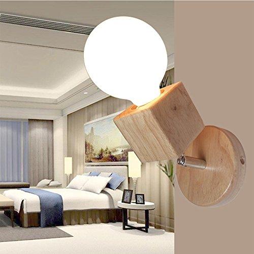 Nclon Moderno Semplice Legno massello Comodino Applique da parete,E27 Portalampada Creativo Semplice Salotto Camera da letto Veranda Led Lampada Luce Luce notturna Lampadina non inclusa-13.5 * 10cm