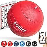 POWRX Slam Ball Balón Medicinal 3-20 kg - Ideal para Ejercicios de Entrenamiento Funcional - (3 kg/Rojo)