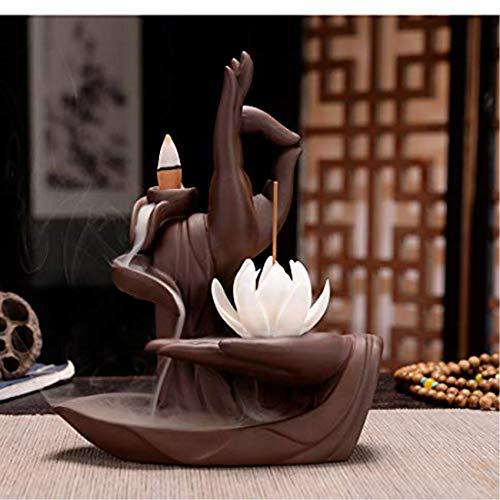 AlenX Backflow Incense Holder, Home Lotus Buddha Incense Burner 10PCs Backflow Incense Gift Box, Ceramic Incense Holder Incense Burner