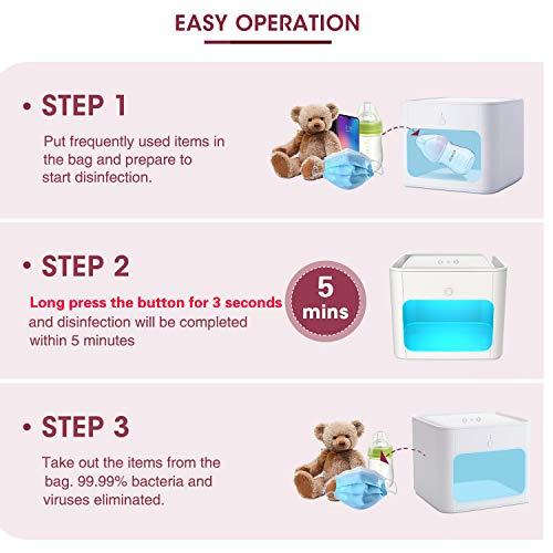 Sterilizzatore UV, NOBES Multifunzione Sterizzatore UV Scatola LED con UV Lampada Sterilizzazione Rapida 99,9%, Sterilizzatore UV per Cellulare,Occhiali,Chiavi,Pennelli Trucco,Orologi,ecc.