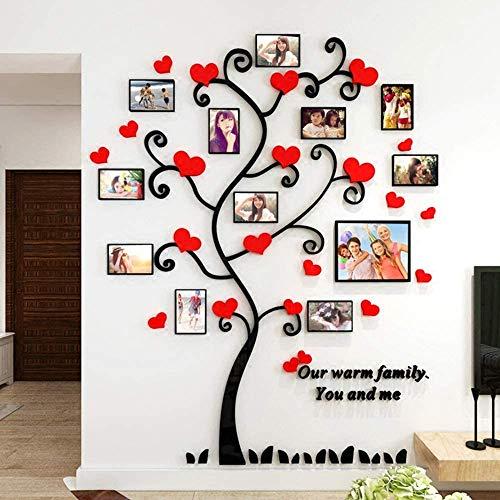 3D Stickers Muraux Arbre de l'amour Bricolage Acrylique Stickers muraux Cadre Photo Décoration intérieure Art pour Le Bureau et la Maison, 150x187 cm