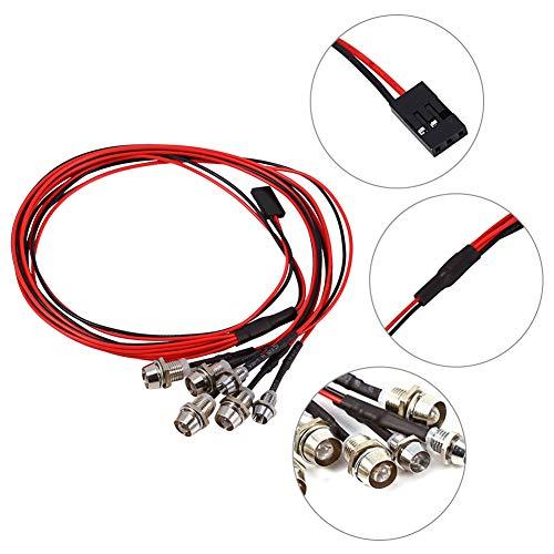 Dilwe 6-LED RC Auto Licht, 3-7V Scheinwerfer Rücklicht Set 5mm / 3mm Durchmesser LED Licht (2 weiß, 2 rot und 2 blau)