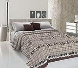 HomeLife Colcha fina de verano y primavera para cama de 150 cm | Edredón estampado con diseño musical fabricado en Italia | Ligera colcha cubrecama de algodón para cama de matrimonio | Marrón, 260x280