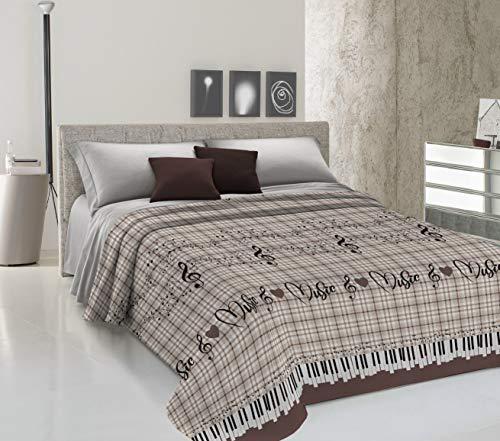 HomeLife Colcha fina de verano y primavera para cama de 135 cm | Edredón estampado con diseño musical fabricado en Italia | Ligera colcha cubrecama de algodón para cama de matrimonio | Marrón, 220x280