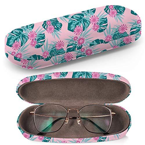 Hardcase Brillenetui Sonnenbrillenetui Brillenbox Kunststof Clamshell-Art-Brillen-Fall mit Brille-Reinigungstuch (Tropical Philodendron Daisies)
